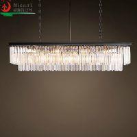 欧式美式水晶灯RH同款简约卧室客厅餐厅长方形水晶吊灯别墅灯具