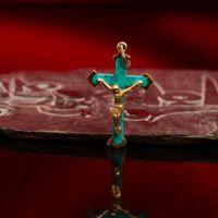 西藏红耶稣受难镶绿松石鎏金十字架吊坠项链㊣尼泊尔异域风格