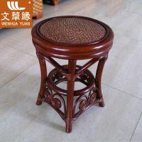 供应文华缘WHJ096深红棕色竹藤编鼓凳藤编矮凳圆凳换鞋凳小凳子