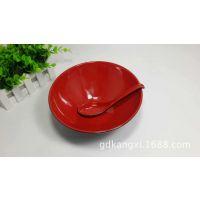 耐高温密胺餐具红黑A5仿瓷尖底碗缧纹碗宽口碗塑料碗餐馆连锁专用