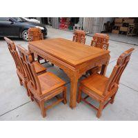 厂家直销东阳红木家具 供应非洲花梨木(刺猬紫檀)象头餐桌7件套