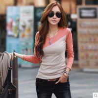 特价批发秋装新款女装上衣打底衫韩版修身纯棉拼接长袖女t恤