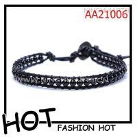 外贸出口首饰  黑色皮革编织bracelet  单层编织手链批发