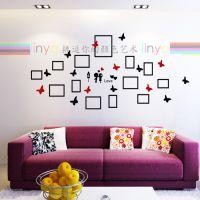 琳雅家艺蝴蝶相框创意家居家饰3d墙壁装饰贴画水晶立体墙贴