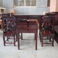 东阳如金红木家具厂 非洲花梨灵芝中堂六件套条案八仙桌太师椅实木组合