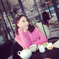 小银子2014冬装新款 韩版清新麻花纹螺纹圆领毛衣M11411