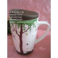 【厂家直销】 陶瓷杯 早餐杯 牛奶杯 带勺杯杯 日用杯 日用餐具