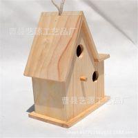 艺源木制品厂家新款热销木质摆件 房子型家居鸟窝 定制批发工艺品