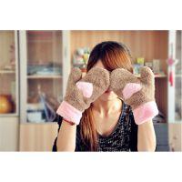 韩国冬季 卡通可爱保暖加厚双层毛绒爱心手套 全指女士手套0.55kg