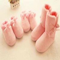 冬季家居短靴子 蝴蝶结球球家居保暖棉鞋 地板拖鞋 超暖 粉色