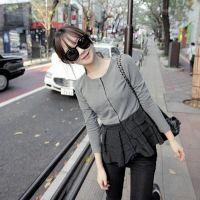 韩国代购miss同款层层小裙摆圆领开衫卫衣 一件代发