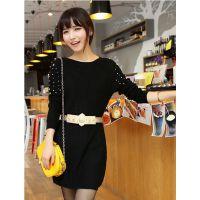 2014新款秋冬装韩版修身淑女气质长袖中长款针织连衣裙送腰带
