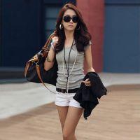厂家直销批发 夏季新款韩版修身纯色圆领短袖打底衫 时尚T恤1017