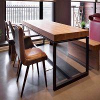 闽安美式家具 实木铁艺长方形餐桌酒店餐厅餐桌椅组合 厂家直销
