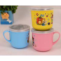 宝宝卡通图案不绣钢带盖水杯儿童带手柄隔热杯小学生水杯茶杯