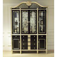 厂家直销  诗兰朵新款 古典黑银箔1.6米酒柜 实木展示柜