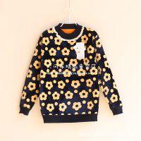 外贸童装 花朵印花 女童针织拼接中高领保暖套头毛衣 秋冬打底衫