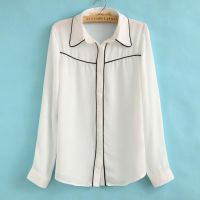 14春装新款 外贸女装 修身撞色雪纺长袖女士衬衫nc35-5-2548