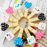 可爱迷你照片夹韩国拍立得diy照片相纸创意心形数字木夹组夹子
