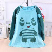 新款耀依坊灯芯绒印花熊猫防水罩衣 宝宝吃饭衣 反穿衣 画画衣