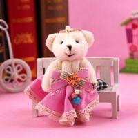 【特价促销】3319 韩国五叶花毛绒小熊钥匙扣 小熊挂件 钥匙挂件
