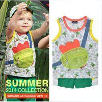 HG2014allolugh夏季男童套装 韩版潮无袖儿童休闲套装原单