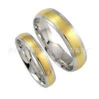 925纯银情侣戒指镀双色金 情侣对戒 925纯银镀18K黄金 精湛工艺