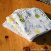 6层加密加厚印花纱布小手帕 小方巾 宝宝口水巾