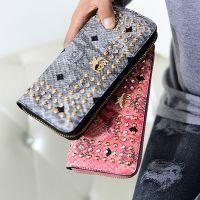 新款韩版时尚复古女士长款钱包铆钉拉链钱夹潮流手拿包包