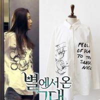 2015春装新款女装韩版来自星星的你同款全智贤米奇卡通衬衣衬衫