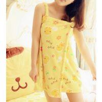 鲜嫩黄色可爱黄小鸡珊瑚绒印花浴裙 性感吊带超短可爱浴袍 睡裙