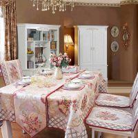 罗莎琳德高档欧式仿真丝布艺餐厅欧式桌布台布田园餐桌布茶几巾