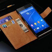 工厂直销 外贸爆款 Sony Z3 二层皮插卡 索尼真皮手机壳