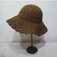 日本女士可折叠渔夫帽天然材质工钩针进口拉菲草帽子遮阳帽