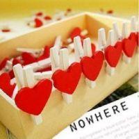 厂家出售手工卡通木质木盒书签夹爱小迷你爱心小夹子小红照片红心