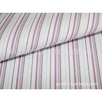 新款热销 衬衫面料 汇鑫 CVC粉色宽 条纹面料 布料批发 T13319-2