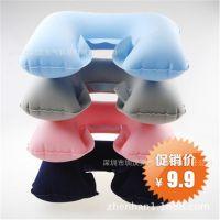 专业生产6P充气枕头u型护颈枕 旅行航空枕子母枕便携式可印LOG