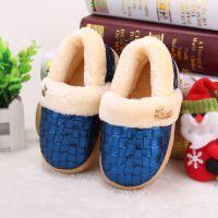 2014冬季儿童棉鞋纯色亮片格室内室外居家保暖防水防滑棉鞋809D