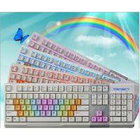 黑爵AK10 英魂之刃机械手感三色背光游戏键盘白色彩虹版发光键盘