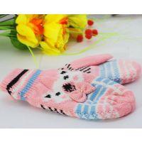 D712时尚针织冬天保暖手套微店 小熊蝴蝶结手套在家兼职免费代理