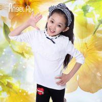 2014秋季 女童打底衣 蕾丝拼接女童打底衫 甜美纯白儿童打底衫