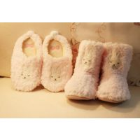 外贸出口 可爱安睡兔 家居靴毛绒地板拖 保暖棉拖鞋 室内棉靴子