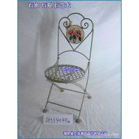 滢发 田园 铁艺座椅 休闲座椅 圆形折叠座椅 创意 餐椅 可定做。