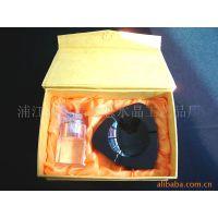 供应黑色水晶烟灰缸套装、水晶烟缸套装等水晶促销礼品