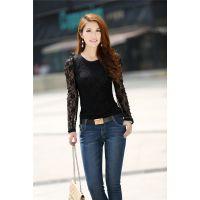 批发2013新款韩版蕾丝泡泡袖修身圆领长袖T恤蕾丝打底衫薄款透气
