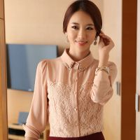 秋冬2014新款韩版翻领气质修身打底衫花朵蕾丝优雅衬衫长袖