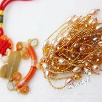 天然珍珠饰品批发 厂家直销 爆款黄水晶珍珠车饰车挂件