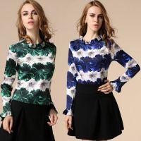 秋季新款韩版女装打底衫女 长袖圆领洋气花朵图案上衣女t恤