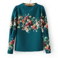 2013秋冬新款韩版女装打底衫 洋气花朵图案上衣衬衫 女zgx