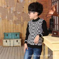 厂家直销英伦风纯棉字母童装 男童针织衫 中大童打底衫A9468